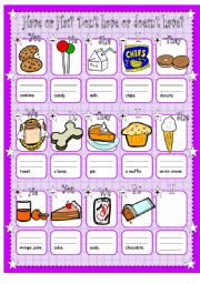 English Worksheet: Have or has, don�t have or doesn�t have for younger learners.