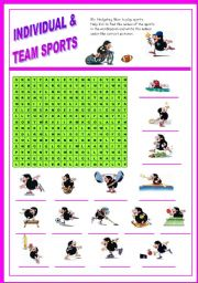 Sport - wordsearch  (Mr. Hedgehog series 2/3) - fully editable