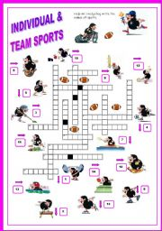 English Worksheet: Sport - crossword ( Mr. Hedgehog series 3/3) - fully editable & the key included