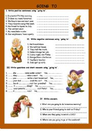 English Worksheet: going to