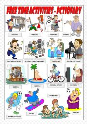 English Worksheet: FREE TIME ACTIVITIES - PICTIONARY
