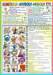 English Worksheets: SOMEBODY-SOMETHING-SOMEWHERE.ANYBODY-ANYTHING-ANYWHERE-NOBODY-NOTHING-NOWHERE -GRAMMAR AND EXERCISES (B&W VERSION+KEY INCLUDED)