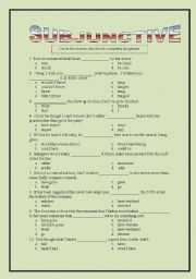 English Worksheets: Subjunctive Multiple Choice
