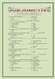 English Worksheet: Subjunctive Multiple Choice
