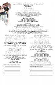 English Worksheets: Justin Bieber Baby