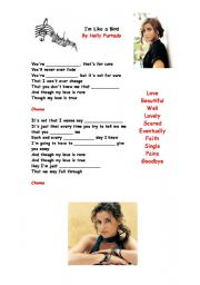 English Worksheet: I�m Like a Bird Lyrics By Nelly Furtado
