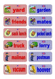 English Worksheets: British English vs American English memory game - part 3