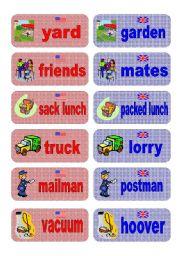 English Worksheet: British English vs American English memory game - part 3