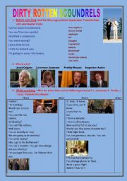 English Worksheets: DIRTY ROTTEN SCOUNDRELS - full movie worksheet!