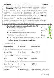 English Worksheet: the ant