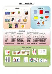 English Worksheets: Basic English 1
