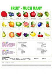 English Worksheet: FRUIT - MUCH, MANY