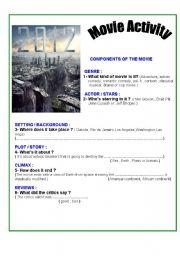 English Worksheets: FILM : 2012