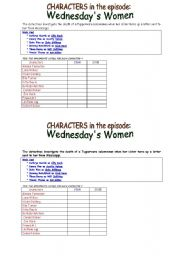 English Worksheets: WEDNESDAY�s WOMEN  from TV series COLD CASE  grid of characters