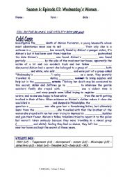 English Worksheets: FILL IN THE BLANKS  episode TV series COLD CASE : Wednesday�s women