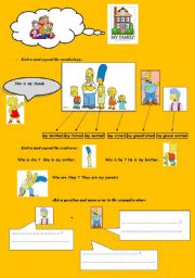 English worksheet: my family with the Simpons