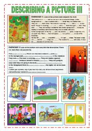 English Worksheets: describing a picture III