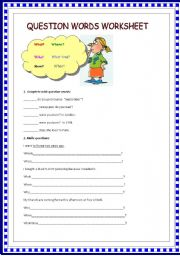 English teaching worksheets: Question words