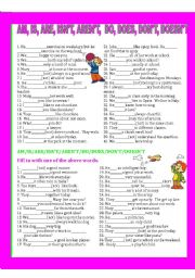 English Worksheet: AM/IS/ARE/AREN´T/ISN´T/DO/DOES/DON´T/DOESN´T
