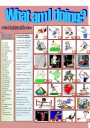 English Worksheets: Guess what am I doing!+key
