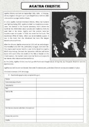 English Worksheet: Agatha Christie biography