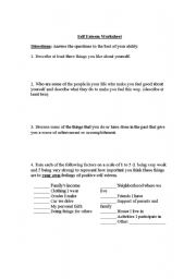 English Worksheet: self esteem worksheet