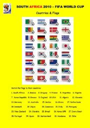 English Worksheet: SOUTH AFRICA 2010 - COUNTRIES & FLAGS (2 pages)