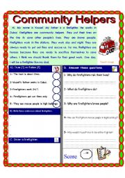 English Worksheet: Community Helpers and community services Part 2