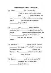 English worksheets: Simple Present Tense/ Past Tense