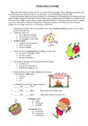 English Worksheets: Food and culture