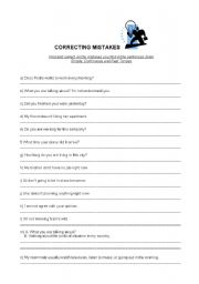 English Worksheet: Correcting Mistakes(SPresent/PCont/SPast)