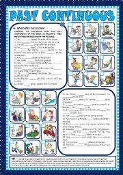 English Worksheets: PAST CONTINUOUS - AFFIRMATIVE, NEGATIVE and INTERROGATIVE FORMS (+KEY) - FULLY EDITABLE