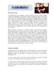 English Worksheets: Justin Bieber�s Life