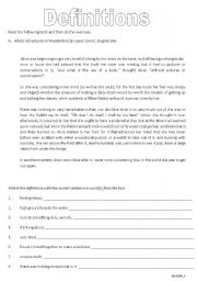 English Worksheets: Definitions 1