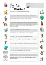 (BW & Color Version) Conditional Type 2 / Second Conditional - What if...? (Adults & Children)