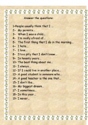 English Worksheets: Answer the questions about you
