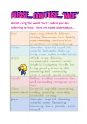 English Worksheets: ALTERNATIVE WORDS FOR - NICE