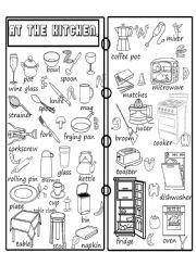 English Worksheet: kitchen pictionary