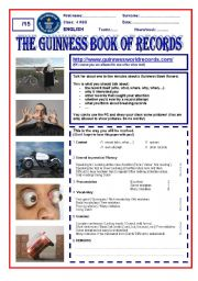 English Worksheets: The Guinness Book of World Records speaking skill