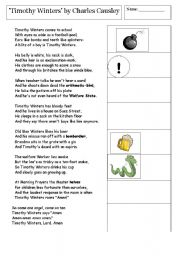 English Worksheets: Poetry - Timothy Winters