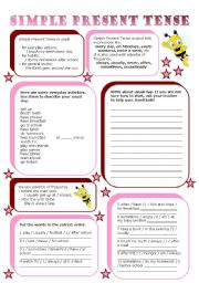 English Worksheet: simple present tense (2 pages)