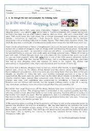 TEST:SHOPPING -Consumer Society- IS IT THE END FOR SHOPPING FEVER?