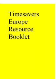Timesavers Europe Resource Booklet