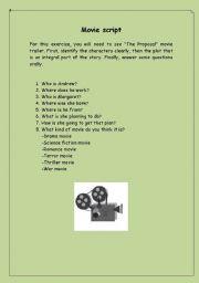 English Worksheets: movie script practice