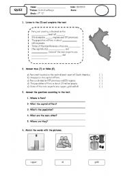 English Worksheet: peru
