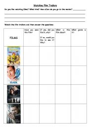 English Worksheets: Watching Film Trailers