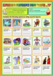 English Worksheets: Expressing Preference using