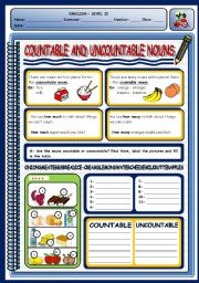 English Worksheet: COUNTABLE AND UNCOUNTABLE NOUNS - 1