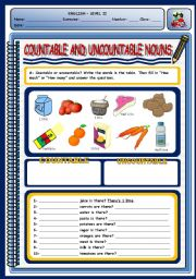 English Worksheet: COUNTABLE AND UNCOUNTABLE NOUNS - 2