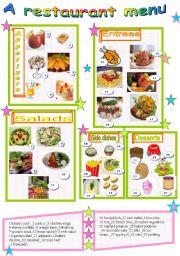 English Worksheet: A restaurant menu